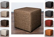Möbelbär 8009-12 Sitz-würfel / -hocker 45 x 45 x 45 cm, bezogen mit robustem Magma Webstoff, braun