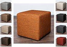 Möbelbär 8009 Sitzwürfel Hocker Cube mit Kunststoffgleiter Fuß 45 x 45 x 45 cm, bezogen mit robustem hochwertigem Magma Struktur Webstoff (Terra)
