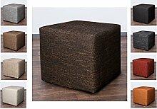 Möbelbär 8009 Sitzwürfel Hocker Cube mit Kunststoffgleiter Fuß 45 x 45 x 45 cm, bezogen mit robustem hochwertigem Magma Struktur Webstoff (Dunkel Braun)