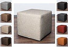 Möbelbär 8009 Sitzwürfel Hocker Cube mit Kunststoffgleiter Fuß 45 x 45 x 45 cm, bezogen mit robustem hochwertigem Magma Struktur Webstoff (Cream)