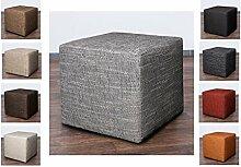 Möbelbär 8009 Sitzwürfel Hocker Sitzbank Würfel 45 x 45 x 45 cm, bezogen mit robustem Magma Struktur Webstoff (Dunkelgrau)