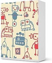 Möbeldeko Design Kindermöbel für IKEA PaxSchrank 201 cm Höhe - 3 Türen | Klebefolie Sticker Aufkleber Verschönerung | Wohnideen IKEA Möbel für Kinder Wandgestaltung | Kids Kinder Crazy Robots