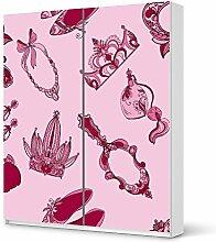 Möbeldekor Kindermöbel für IKEA PaxSchrank 236 cm Höhe - Schiebetür | Klebefolie Sticker Aufkleber Klebefolie | Ideen für IKEA Möbel für Kinder Kinderzimmertapete | Kids Kinder Pink Princess