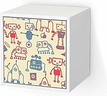 Möbeldekor Kindermöbel für IKEA Valje Wandschrank 1 Tür (quadratisch)   Bedruckte Klebe-Folie Möbelgestaltung   Deko Ideen Erlebnisraum Kindertapeten   Kids Kinder Crazy Robots