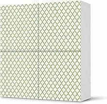 Möbeldekoration IKEA Besta Schrank Quadratisch 4 Türen selbstklebendes Design Retro Pattern - Grün (Muster & Ornamente) Dekofolie