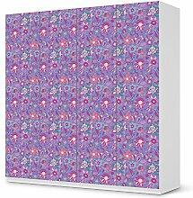 Möbelfolie für IKEA Pax Schrank 201 cm Höhe - 4 Türen   Designfolie Klebefolie Sticker Aufkleber Möbel verschönern   Wohnen & Dekorieren Schlafzimmer-Dekoration DIY   Ornament Purple Flower Pattern