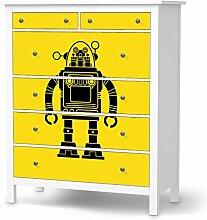 Möbelfolie Kinder-Möbel für IKEA Hemnes Kommode 6 Schubladen | Klebesticker Aufkleber Folie Deko-Folie | Ideen für IKEA Möbelfolie Kinder Kindertapeten | Kids Kinder Retro Robo