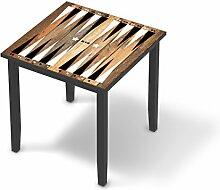 Möbelfolie Kinder-Möbel für IKEA Lerhamn Tisch 74x74 cm | Klebefolie Sticker Aufkleber Möbelaufkleber | Deko Ideen IKEA Möbel für Kinder Walltattoo | Kids Kinder Spieltisch Backgammon Schwarz/weiß