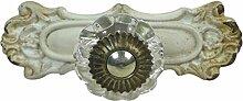 Möbelgriff Glas Knauf antik weiß Metall Griff L9,5
