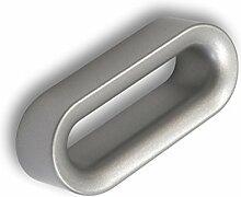 Möbelgriff Halstenbek, Design, Zinkdruckguß pulverbeschichtet - Alufarbig, LA 64 mm
