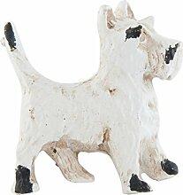 Möbelgriff HUND Knauf Terrier Shabby Chic weiß