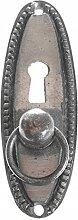 Möbelgriff mit Schlüsselloch grau braun antik Metall Vintage