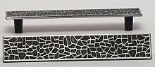 Möbelgriff Schrankgriff Schubladengriff mit Muster verschiedene Farben LA 128mm (schwarz vernickelt)
