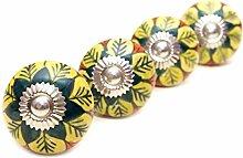 Möbelgriff/Türknauf aus KERAMIK - Hübsch in GELB & ORANGE mit Blumenmuster - aus INDIEN - 4 Stück (RHPK160043)