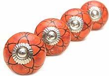 Möbelgriff/Türknauf aus KERAMIK - Hübsch in ORANGE mit Blumenmuster - aus INDIEN - 4 Stück (RHPK160046)