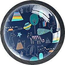Möbelgriffe 4 Stück Kristallglas-Zuggriffe,Tier-