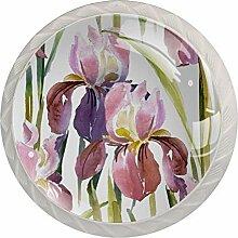 Möbelknauf, rund, Glas, mit Schrauben, für