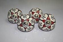 Möbelknauf/Schrankknauf, Keramik, mit rotem