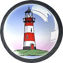 Möbelknöpfe Leuchtturm am Meer Kristallglas