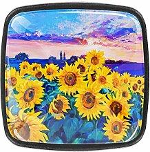 Möbelknöpfe mit Sonnenblumen-Ölgemälde,