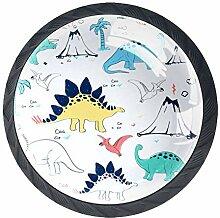 Möbelknöpfe, rund, Dinosaurier, Blau, Muster,