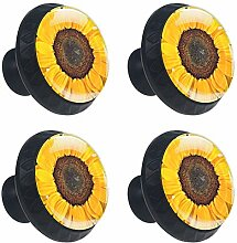 Möbelknöpfe, rund, Sonnenblumenfelddruck,