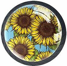 Möbelknöpfe, rund, Sonnenblumenmuster, nahtloser