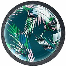 Möbelknöpfe, rund, Tropische Blätter,