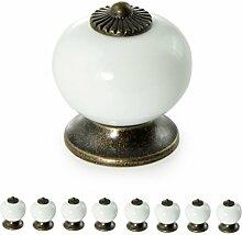 Möbelknöpfe Set aus Porzellan / Keramik weiß–