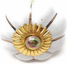 """Möbelknöpfe Set """"Krone/Blume"""" aus Keramik mit antik Kupfer Verzierung, Vintage Schrankknauf aus Keramik, Messing, Möbelgriff VIELE VARIANTEN (Weiß, 8er SET)"""