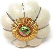 """Möbelknöpfe Set """"Krone/Blume"""" aus Keramik mit antik Kupfer Verzierung, Vintage Schrankknauf aus Keramik, Messing, Möbelgriff VIELE VARIANTEN (Creme-Beige, 8er SET)"""