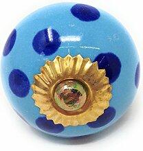 """Möbelknöpfe Set """"Rund/Punkte-Dots"""" aus Keramik, Vintage Schrankknauf aus Keramik, Messing, Möbelgriff VIELE VARIANTEN (Blaupunkt-Türkis, 8er SET)"""