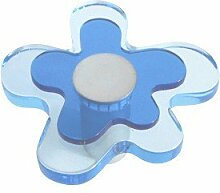 Möbelknopf blaue Blume, Schrankgriff, Kommodengriff