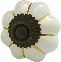 Möbelknopf Blütenform weiß - golden Landhaus Knauf