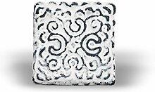Möbelknopf Eisen orientalisch weiß (quadratisch) Möbelgriff Möbelknauf