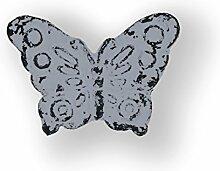 Möbelknopf Eisen Schmetterling grau (Möbelgriff Möbelknopf Accessoire retro shabby chic)