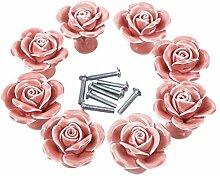 Möbelknopf, iTECHOR 8 Pcs Möbelknauf,Möbelknöpfe, Möbelgriff, Vintage Keramik Porzellan - Rosa