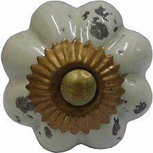 Möbelknopf Keramik altbeige rund D 4 cm Möbelknauf Schubladengriff Möbelgriff