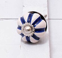 Möbelknopf Keramik beige/ blau rund Durchmesser 3 cm Möbelknauf Schubladengriff Möbelgriff