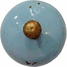 Möbelknopf Keramik hellblau rund D 3 cm Möbelknauf Schubladengriff Möbelgriff