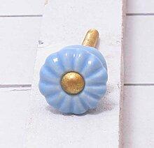 Möbelknopf Keramik hellblau rund Durchmesser 2 cm Möbelknauf Schubladengriff Möbelgriff