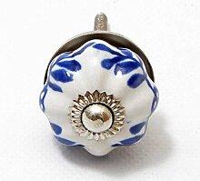 Möbelknopf Keramik weiss/ blau rund Durchmesser 3 cm Möbelknauf Schubladengriff Möbelgriff