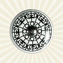 Möbelknopf Keramik weiß mit schwarzen Ornamenten