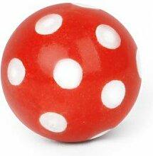 Möbelknopf Möbelgriff Ball rot mit weißen