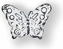 Möbelknopf Möbelgriff Eisen Schmetterling weiß (shabby chic, Vintage, retro)