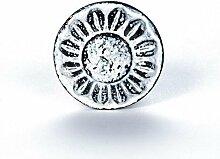 Möbelknopf Möbelgriff Möbelknauf Eisen Vintage rund Ornament weiß