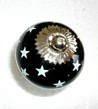 Moebelknopf Moebelgriff Moebelknauf mit Streifen zur Auswahl (shwarz mit hellen Sternen)