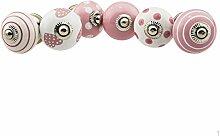 Möbelknopf Möbelknauf Möbelgriff 6er Set Nr.1 308 Farbe rosa Keramik Porzellan handbemalte Vintage Möbelknöpfe für Schrank, Schublade, Kommode, Tür - Jay Knopf