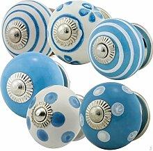 Möbelknopf Möbelknauf Möbelgriff 6er Set Nr.3 314 Farbe blau Keramik Porzellan handbemalte Vintage Möbelknöpfe für Schrank, Schublade, Kommode, Tür - Jay Knopf