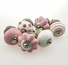 Möbelknopf Möbelknauf Möbelgriff 6er Set Nr.6 357 Farbe rosa weiß Keramik Porzellan handbemalte Vintage Möbelknöpfe für Schrank, Schublade, Kommode, Tür - Jay Knopf